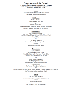 Pamplemousse Grille 2016 Chef Celebration Menu